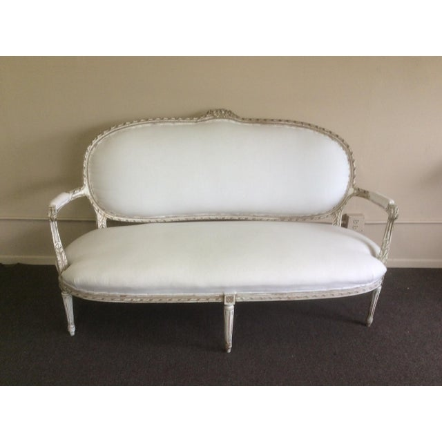 Paint Antique French Settee With Worn White Painted Finish For Sale - Image 7 of 12