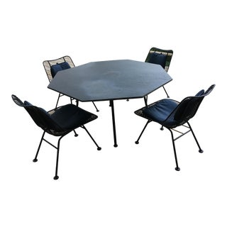 "Mid-Century Russel Woodard ""Sculptura"" Octagon Slate Top Dining Table & Chairs For Sale"