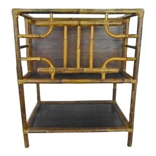 1970s Boho Chic Bamboo Two Tier Side Table/Magazine Rack For Sale