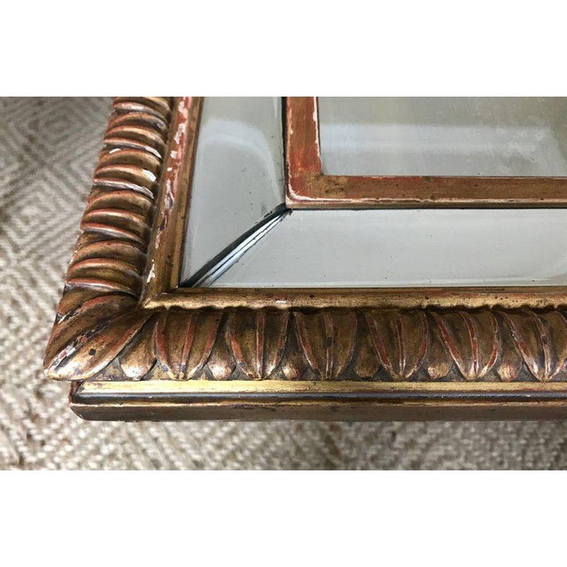 Louis XVI Style 23-Karat Water Gilt Wall Mirror with Convex Glass Border For Sale In Dallas - Image 6 of 13