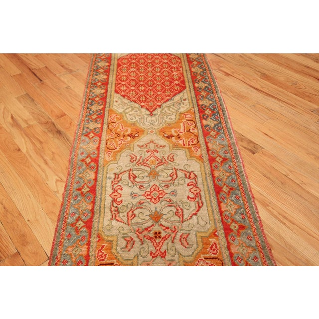 Antique Arts and Crafts Turkish Oushak Runner Rug - 2′10″ × 26′ For Sale - Image 9 of 10