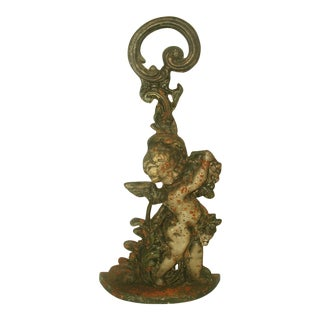 English Cherub Door Stop Iron