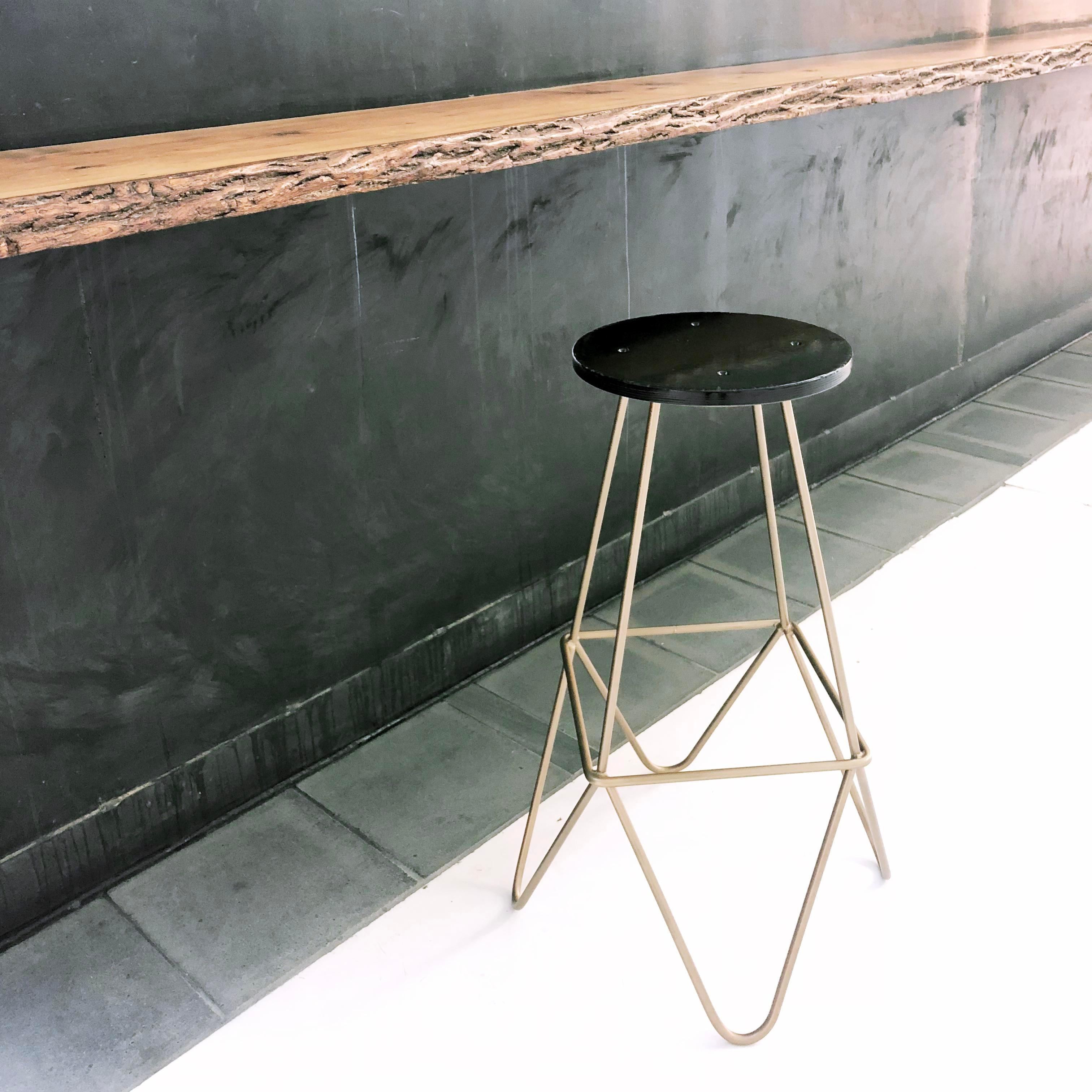 Eiffel Gold U0026 Black Lacquered Mid Century Modern Bar Stool   Image 3 ...