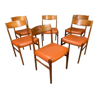 Set of Six Vintage Danish Mid Century Modern Rosewood and Leather Dining Chairs For Sale