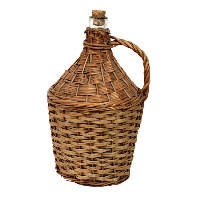 Antique Wicker Covered & Handled Wine Jug With Cork For Sale