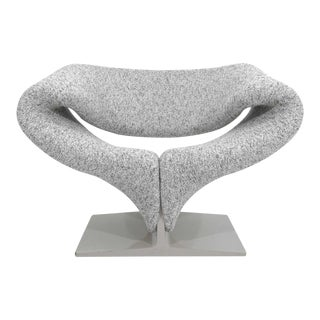 Pierre Paulin Ribbon Chair in White and Gray Upholstery For Sale
