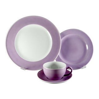 Schonwald Dibbern Solid Color Lilac Service for 4 Dinnerware - 16 Piece Set For Sale