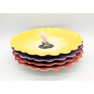 Vintage Fitz and Floyd Colorful Pansy Flower Luncheon /Snack Plates - Set of 4 Preview