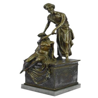 Art Deco Auctioneer Bronze Sculpture on Marble Base Figurine For Sale