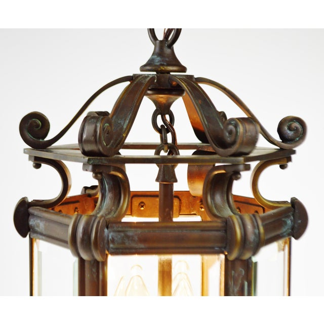 Bronze & Beveled Glass 3 Light Lantern Light Fixture - Image 6 of 11