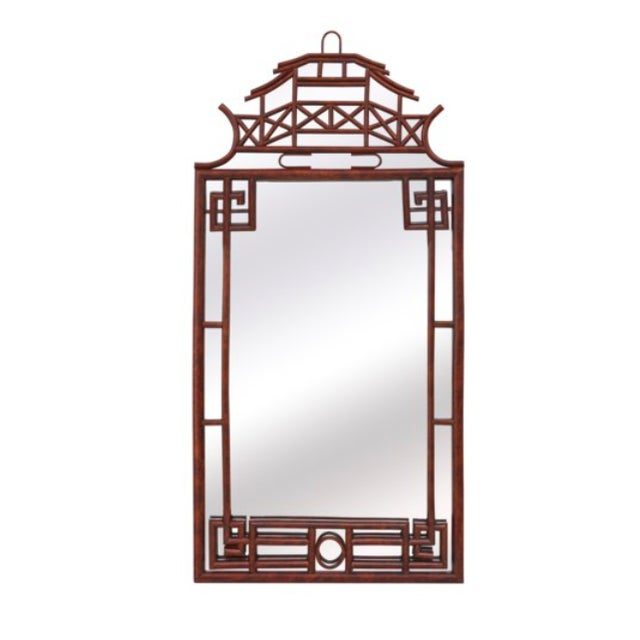 Pagoda Mirror Large, Brown, Rattan For Sale - Image 4 of 4