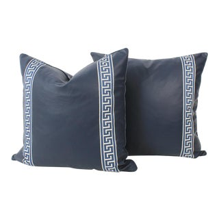 Navy Leather Greek Key Pillows, Pair For Sale