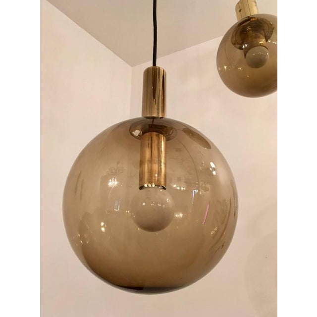 Glass 1970s Raak Dutch Smoked Glass Globe Ceiling Light For Sale - Image 7 of 10