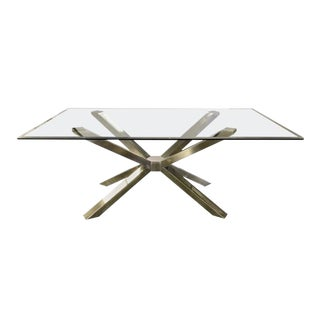 Calligaris Mid-Century Modern Style Glass and Chrome Sculptural Dining Table For Sale