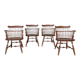 Nichols & Stone Maple Colonial Style Comb Back Arm Chairs- Set of 4 For Sale