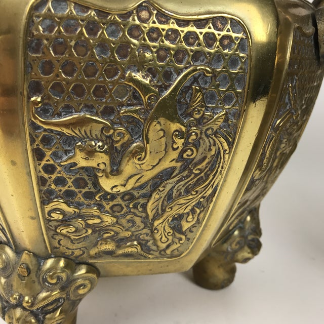 Asian Japanese Brass Planter For Sale - Image 3 of 10