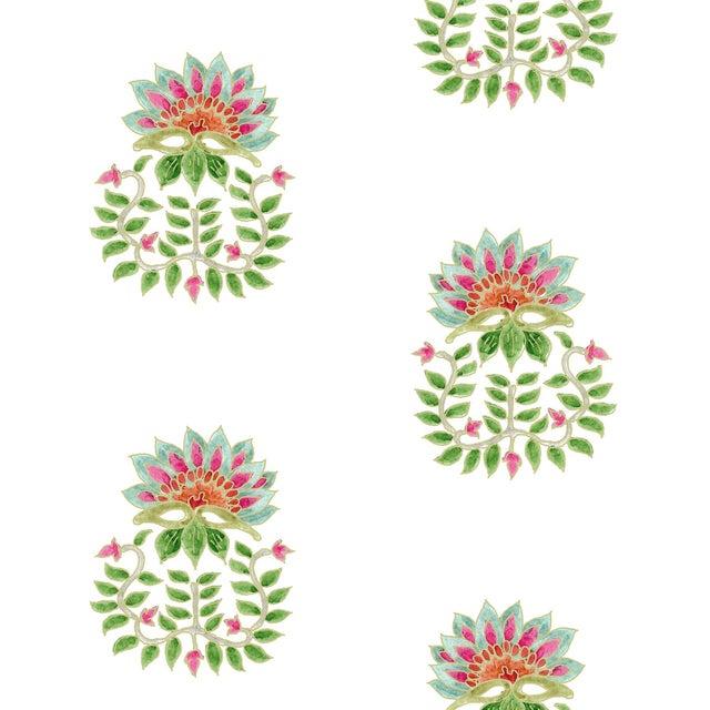 Ferran Gazania Fabric, 2 Yards, Jade in Linen/Cotton For Sale