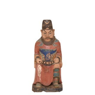 20th Century Asian Carved Warrior Figurine For Sale