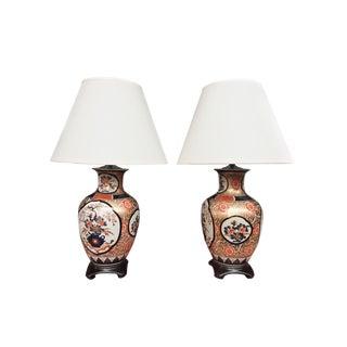 20th Century Imari-Style Porcelain Vase Table Lamps - a Pair For Sale