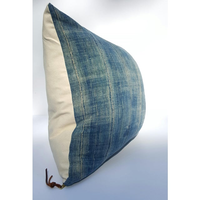 Faded Denim African Mud Cloth Pillow Cover - Image 2 of 6