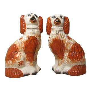 Antique English Staffordshire Spaniel Dogs, A Pair For Sale