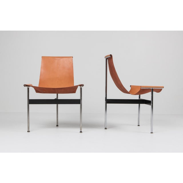 Katavolos, Kelley and Littell T-Chairs in Original Cognac Leather - 1970s For Sale - Image 6 of 10