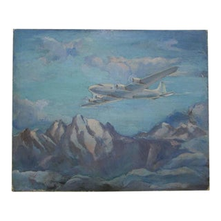 DC-4 Airplane Oil on Canvas Circa 1940 For Sale