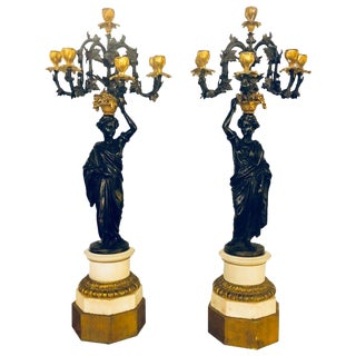 Pair of Neoclassical Style Bronze Six-Arm Figural Candelabra For Sale