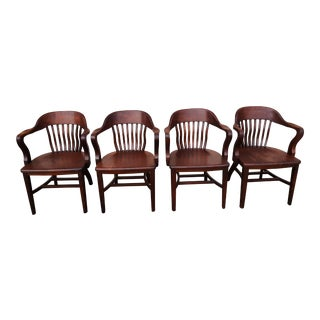 Vintage Court Room Wood Armachairs - Set of 4 For Sale