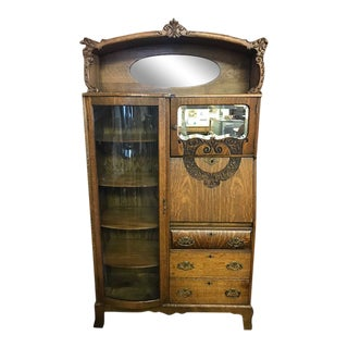 Antique Quartersawn Oak Curved Glass Side by Side Secretary Bookcase For Sale