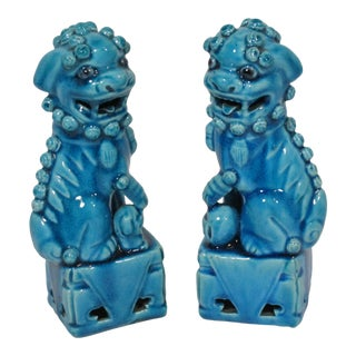 1920s Antique Chinese Blue Fo Dogs, - a Pair For Sale