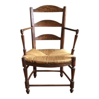 19th Century Vintage French Rustic Wood Armchair For Sale
