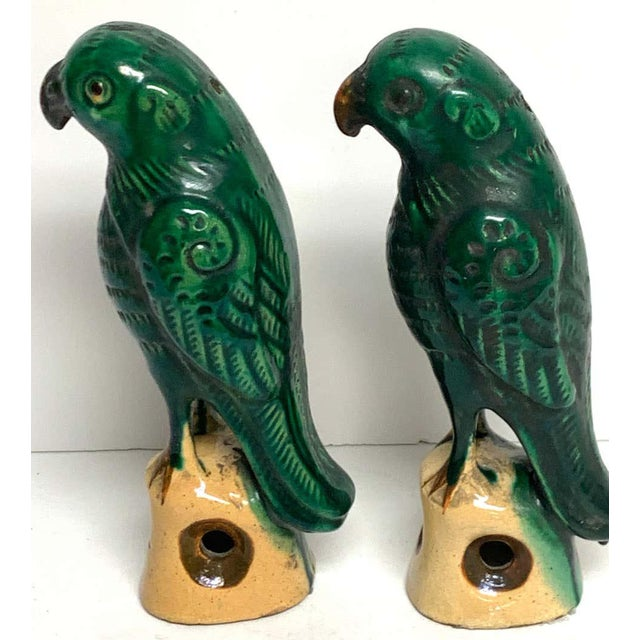 Pair of Chinese Export Porcelain Green Glazed Parrots For Sale In West Palm - Image 6 of 12