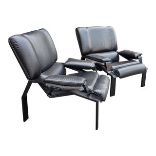 Pair Black Leather Lem Lounge Chair by Joe Colombo for Bieffeplast, 1970s For Sale
