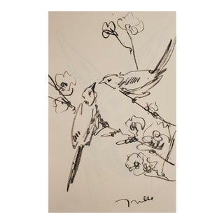 Jose Trujillo Original Charcoal Paper Sketch Drawing, Birds Flowers Art - 11x17 For Sale