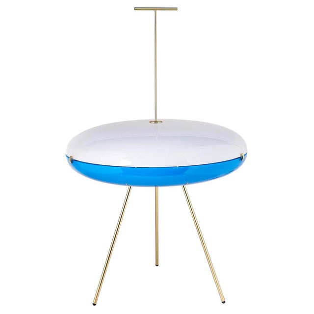 Fontana Arte Gio Ponti Luna Orizzontale Floor Lamp for Tato in White and Blue For Sale - Image 4 of 4