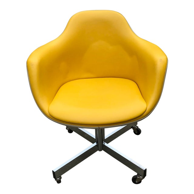 Vintage Mid Century Yellow Eames Style Shell Rolling Desk Chair For Sale