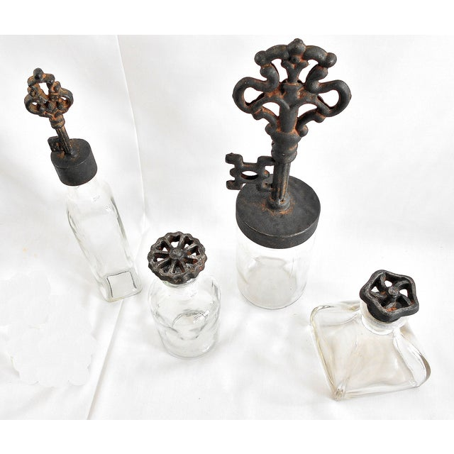 Industrial Rustic Finial Glass Bottles - Set of 4 - Image 3 of 7