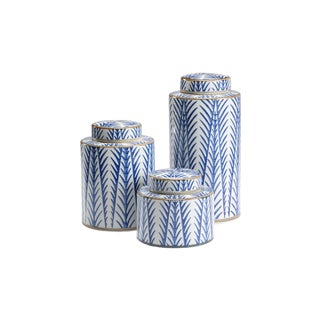 Blue Fronds Canisters, Set of Three For Sale