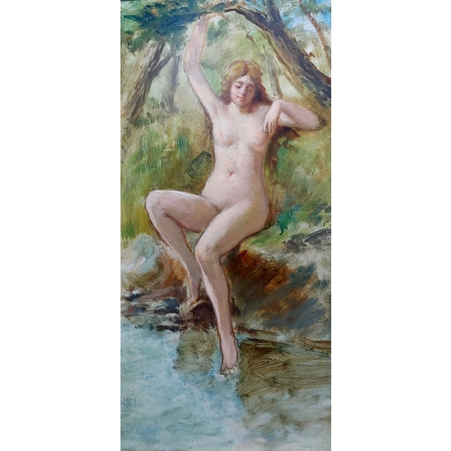 French 19th Century French School-Nude Nymph by the River -Oil Painting For Sale - Image 3 of 7