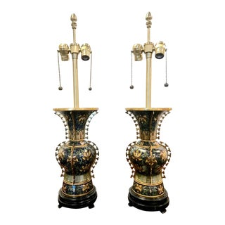 Mid 20th Century Marbro Chinese Deco Bronze Cloisonne Lamps - A Pair For Sale