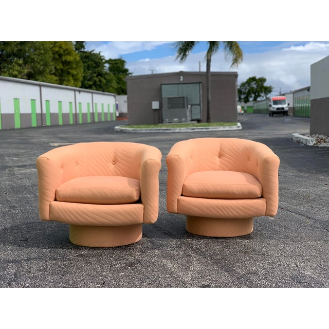 Rose 1970s Milo Baughman Style Tufted Swivel Lounge Chairs - a Pair For Sale - Image 8 of 13