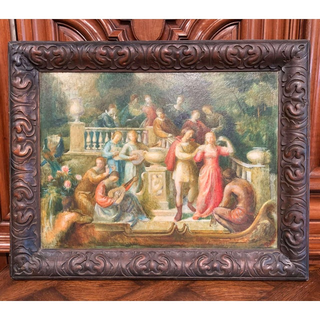 19th Century Spanish Serenade Painting on Board in Original Carved Frame For Sale - Image 9 of 9