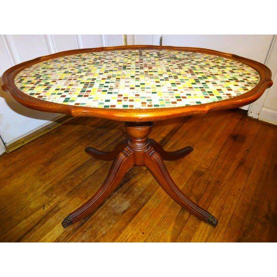 Ceramic Vintage Mahogany Claw Foot Mosaic Coffee Table For Image 7 Of