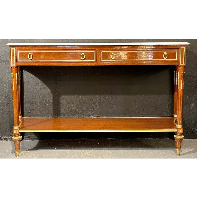Pair of Louis XVI Style Marble Top Consoles / Sideboards in the Jansen Manner For Sale - Image 12 of 13