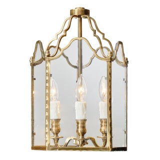French Art Deco Period Brass Lantern For Sale