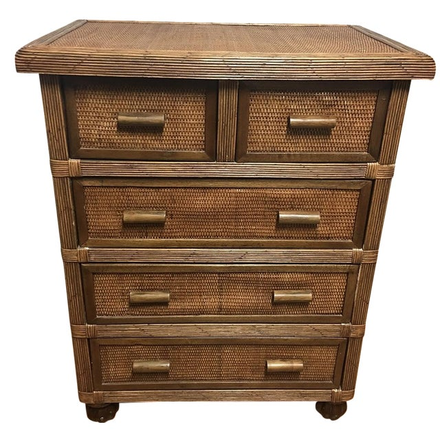 Balinese Wood & Wicker 5-Drawer Chest - Image 1 of 8