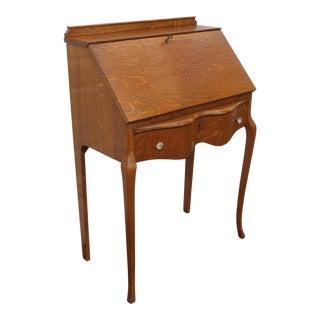 Early 1900s Victorian Small Tiger Oak Secretary Desk 3442 For Sale