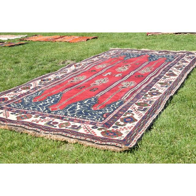 Tribal Turkish Vintage Oriental Design Red-Blue Color Carpet - 4x8.5 For Sale - Image 3 of 12