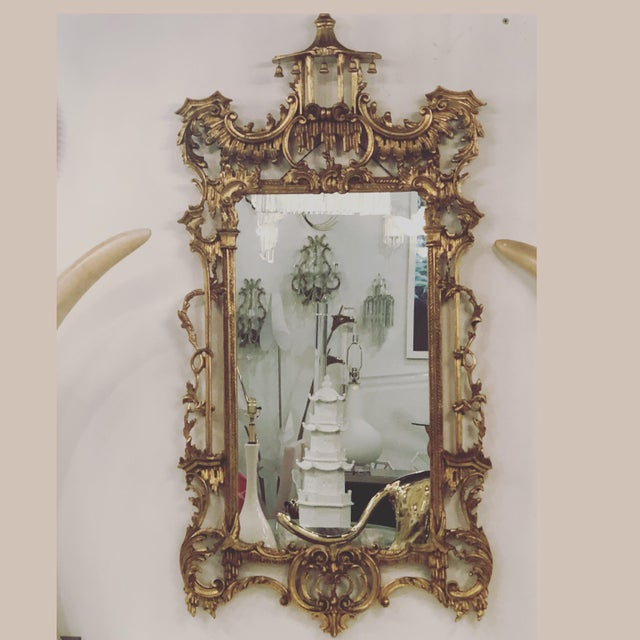 Vintage Chinoiserie Italian Labarge Carved Wood Pagoda Bells Wall Mirror For Sale - Image 13 of 13